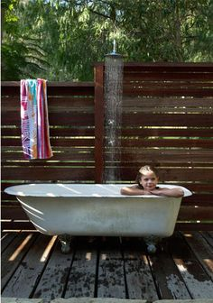 Outdoor bath inspiration, via desire to inspire. You may have noticed by now that I'm a huge fan of the outdoor bath. It's simply more sophisticated than being hosed down and handed a towel before stepping into the house, like when I was a kid.