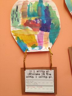 Oh The Places You'll Go  One of my favorites! We made hot air balloons by coloring with crayon and then using watercolors. Then the kids had tow write about if they could go anywhere in the world, where would they go?