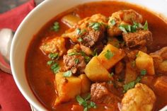 Paprikash - a Hungarian stew: Substitute yams for the potatoes and I am going to work on making the dumplings with maybe coconut or almond flour instead of wheat flour. Do these things and bam, a yummy Paleo friendly stew! Bosnian Recipes, Hungarian Recipes, Hungarian Food, Hungarian Cuisine, Serbian Food, Bosnian Food, Goulash, Soup Recipes, Cooking Recipes