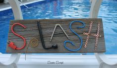 #scenicscript #rustic #sign #barnboard #diy #homedecor #wood #metal #pool #splash #water #fun