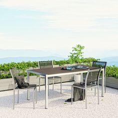 Shore 5 Piece Outdoor Patio Aluminum Dining Set in Silver Black