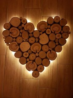 homemade heart made of wooden slices with lighting … - Beleuchtung Wooden Wall Art, Wood Art, Wooden Slices, Sea Glass Colors, Wall Decor Design, Contemporary Floor Lamps, Restaurant Interior Design, Deco Table, Light In The Dark