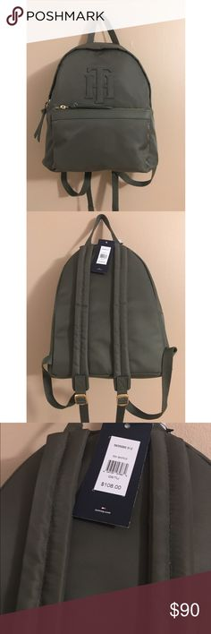 Rare Tommy Hilfiger Olive Small Backpack Rare Tommy Hilfiger small nylon olive green backpack. Has one large pouch and one smaller pouch in the front. Adjustable straps. Tommy Hilfiger Bags Backpacks