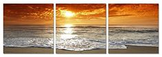 Morning Beach. 59''x 20'' Ready to Hang. Contemporary Art, Modern Wall Decor, 3 Panel Wood Mounted Giclee Canvas Print. A1208L SLS Vision http://www.amazon.com/dp/B00EJXN07E/ref=cm_sw_r_pi_dp_Tp6Eub02T9C10