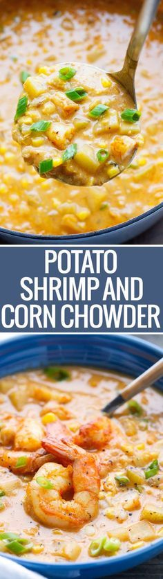 Shrimp and Corn Chowder - loaded with potatoes