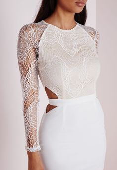 Missguided - Lace Long Sleeve Cut Out Midi Dress White