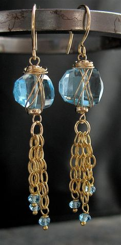 Handmade Swiss Blue Topaz14k Goldfill Wire by lonerockjewelry