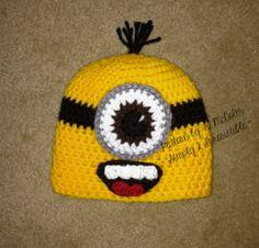free crochet ear flap beanie patterns | Minion Beanie and Earflap Pattern / Simply 2 Irresistible: Crochet Hat ...