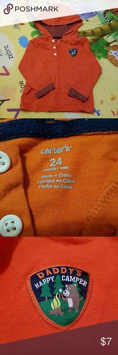 Daddy's Happy Camper hoodie Nice orange hoodie.  In good condition. Carter's Shirts & Tops Sweatshirts & Hoodies