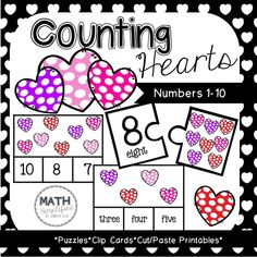 Counting Hearts: Number Recognition - Amped Up Learning Counting Activities, Valentines Day Activities, Hands On Activities, Numbers 1 10, Number Words, Number Recognition, Cut And Paste, Small Groups, Math