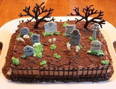 Chocolate trees and fence, gum paste grave stones.