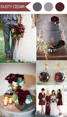 2016 trending deep red marsala and gray fall wedding color ideas: #WeddingIdeasRed