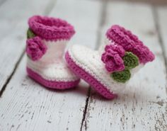Crochet Baby Boots, Crochet Baby Booties, Booties with Flower, Infant Sizes, Newborn to 12 Months, Made to Order