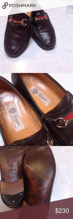 Vintage GUCCI Italy Horsebit Burgundy Mens Loafers ICONIC Vintage GUCCI Burgundy/Cordovan Leather GG Horsebit Slip On Loafers Dress Shoes. Men's size 42 1/2 (8.5 comfortably) Made in Italy, Rare color! Horsebit with green & red ribbon. Color may vary slightly in some pictures. Insoles and soles show some wear but there is so much more life in these!  If you have a question please ask before purchasing. Size 42 1/2 (US 8.5) Gucci Shoes Loafers & Slip-Ons