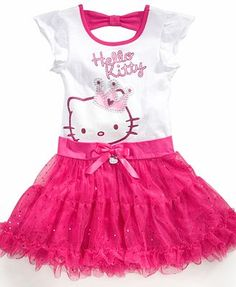 Hello Kitty Kids Dress, Little Girls Tutu Dress- could you make this out of a vintage shirt and tutu dress?