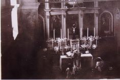 Padre Pio saying Mass: May, 1945  A view from the Choir Loft. To the left of the Altar, the Image of St. John the Baptist, the patron of the Capuchine Convent is clearly visibile