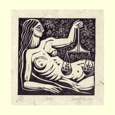 Libra (Sept23 - Oct23) Linoprint by Sarah Young