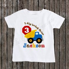 Personalized Construction Dumptruck Birthday Boy Shirt
