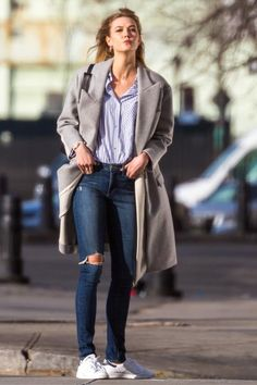 Karlie Kloss wearing Adidas Originals Stan Smith Sneakers, Mansur Gavriel Backpack Canvas in Black, Swarovski Crystalline Oval Rose Gold Tone Watch and Stella McCartney Curtis Oversized Two-Tone Wool-Blend Felt Coat
