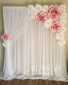 Bridal Shower Backdrop, Diy Backdrop, Bridal Shower Decorations, Diy Wedding Decorations, Birthday Party Decorations, Paper Flower Backdrop Wedding, Decor Wedding, Backdrop Photobooth, Floral Decorations