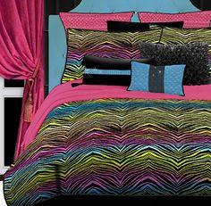 Rainbow Zebra Animal Print Bedding Comforter Set for Girls #kidsroomstore $89.99