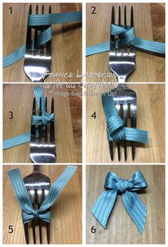 photo tutorial from The Fairy's Scrapbook: how to tie a tiny bow using a dinner fork . Diy Hair Bows, Diy Bow, Diy Ribbon, Ribbon Work, Ribbon Crafts, Flower Crafts, Bow Making Tutorials, Craft Tutorials, Making Bows