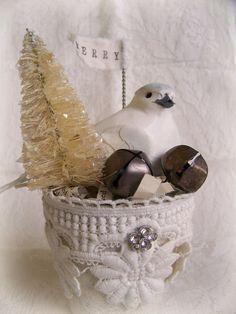 Handmade Winter White Christmas Decoration Vintage Christmas Decor Shabby White Peat Pot Vintage Dove Altered Pot