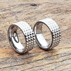 Spiked ring with unique carved finish. Silver Wedding Bands, Tungsten Wedding Bands, Unique Wedding Bands, Wedding Men, Tungsten Rings, Wedding Rings, Tungsten Carbide, Personalized Rings, Engraved Rings