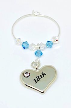 Silver plated heart charm engraved with set with Aquamarine and Clear Swarovski Crystals make this gorgeous wine glass charm Aquamarine is the birthstone colour for March. Swarovski Gifts, Swarovski Crystals, Wine Glass Charms, Personalised Gifts, Organza Bags, Handmade Wedding, Heart Charm, Wedding Accessories, Birthstones