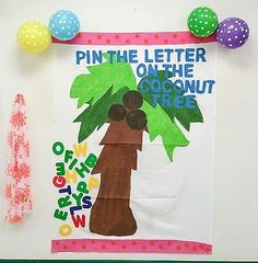 Chicka chicka Boom Boom Party ABC pin the letter on the coconut tree