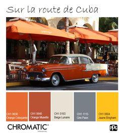 L'orange harmonisé à du gris métallique devient intemporel, il apporte chaleur à une atmosphère plus urbaine. www.chromaticstore.com