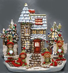 """Ceramic Bisque Ready to Paint """"Winter Fairy Land"""" pin lights, electric included 