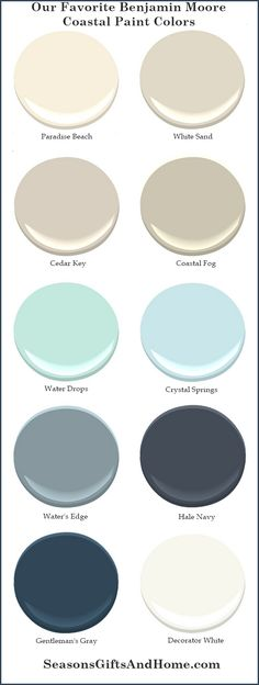 Proven paint colors that evoke the beauty of the coast. Choose a palette that reflects the colors of sand, driftwood, summer skies and ocean waters.