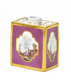 Tea Caddy with Scenes from a Merchant's Journey, on a Purple Background.  Meissen. Circa 1740.