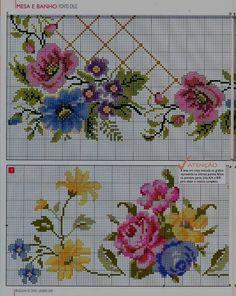 Artesanato em crochê e ponto cruz: Lindo gráfico de barrado com flores em ponto cruz