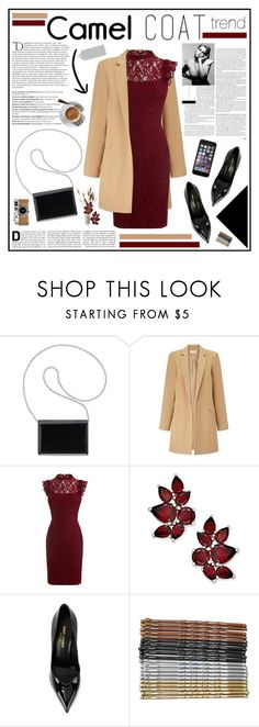 """""""Camel coat"""" by ellyg91 ❤ liked on Polyvore featuring Nine West, Miss Selfridge, Balmain, Yves Saint Laurent, Hermès and Toni&Guy"""