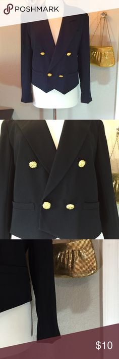 Liz Claiborne Black Blazer Size 4  Beautiful blazer. Buttons are very heavy. Great pre-loved condition. Liz Claiborne Jackets & Coats Blazers