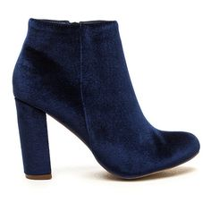 Set The Stage Chunky Velvet Booties ($27) ❤ liked on Polyvore featuring shoes, boots, ankle booties, ankle boot, blue, short boots, chunky heel ankle boots, high heel boots, chunky-heel ankle boots and thick heel booties