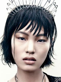 PUNK INSPIRED BEAUTY ACCESSORIES JEWELRY EDITORIAL VOGUE JAPAN THE DESTINY OF PUNK Model: Chiharu Okunugi Photographer: David Slijper Styled by: Tina Chai GLOSSY EYES METALLIC LIGHT PINK LIPSTICK SILVER SAFETY PIN HEADBAND HAIR ACCESSORY