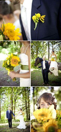 wedding dress with green sash & Sunflower bouquet...