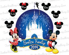 Printable Disney Iron On Transfer, Matching Family Disney Vacation Shirts, Personalized, digital download, Disney World, Disneyland, 2014 on Etsy, $5.00