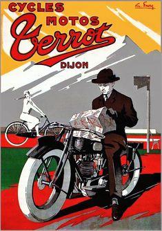 Cyles Motos Terrot, France, G. Motos Vintage, Vintage Bikes, Vintage Motorcycles, Vintage Ads, Vintage Posters, Bike Poster, Motorcycle Posters, Motorcycle Art, Bike Art