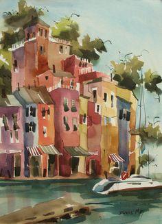 "Portofino ,Italy en plein air, watercolor www.jinniemay.com   21""x15"""