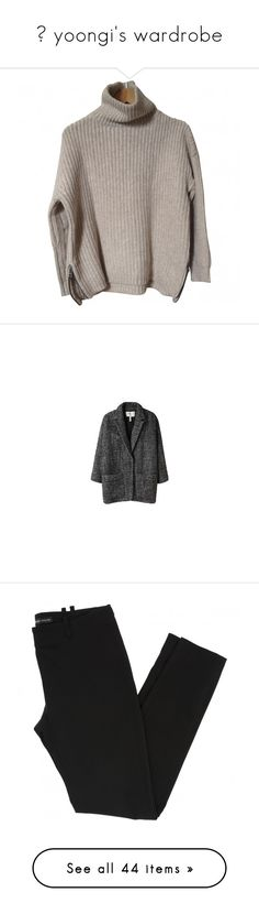 """""""- yoongi's wardrobe"""" by softsounds ❤ liked on Polyvore featuring tops, sweaters, jumpers, shirts, rollneck sweaters, roll neck sweater, elbow patch shirt, shirt tops, jumper top and outerwear"""