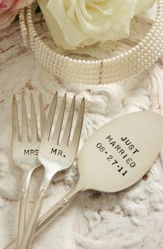 vintage silverware mr and mrs wedding cake forks and just married cake topper set silver plate flatware beachhouseliving on