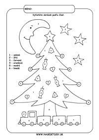 Vianoce - vyfarbujeme podľa čísel