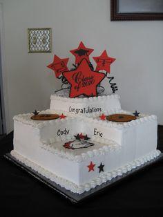 3 step graduation cake - sports theme