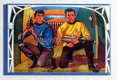 "Vintage STAR TREK DOME Lunchbox 2"" x 3"" Fridge MAGNET Art Spock Kirk"