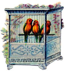 Click on image to enlarge Here's another one of those pretty Victorian Scrap Bird Cages! This one shows 3 brightly colored Birds inside of an ornate blue Birdcage. ShareTweet