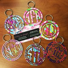 Monogram Keychain, Monogram Decal, Preppy Car Accessories, Acrylic Keychains, Cute Cars, Vinyl Projects, Lilly Pulitzer, Initials, Gifts